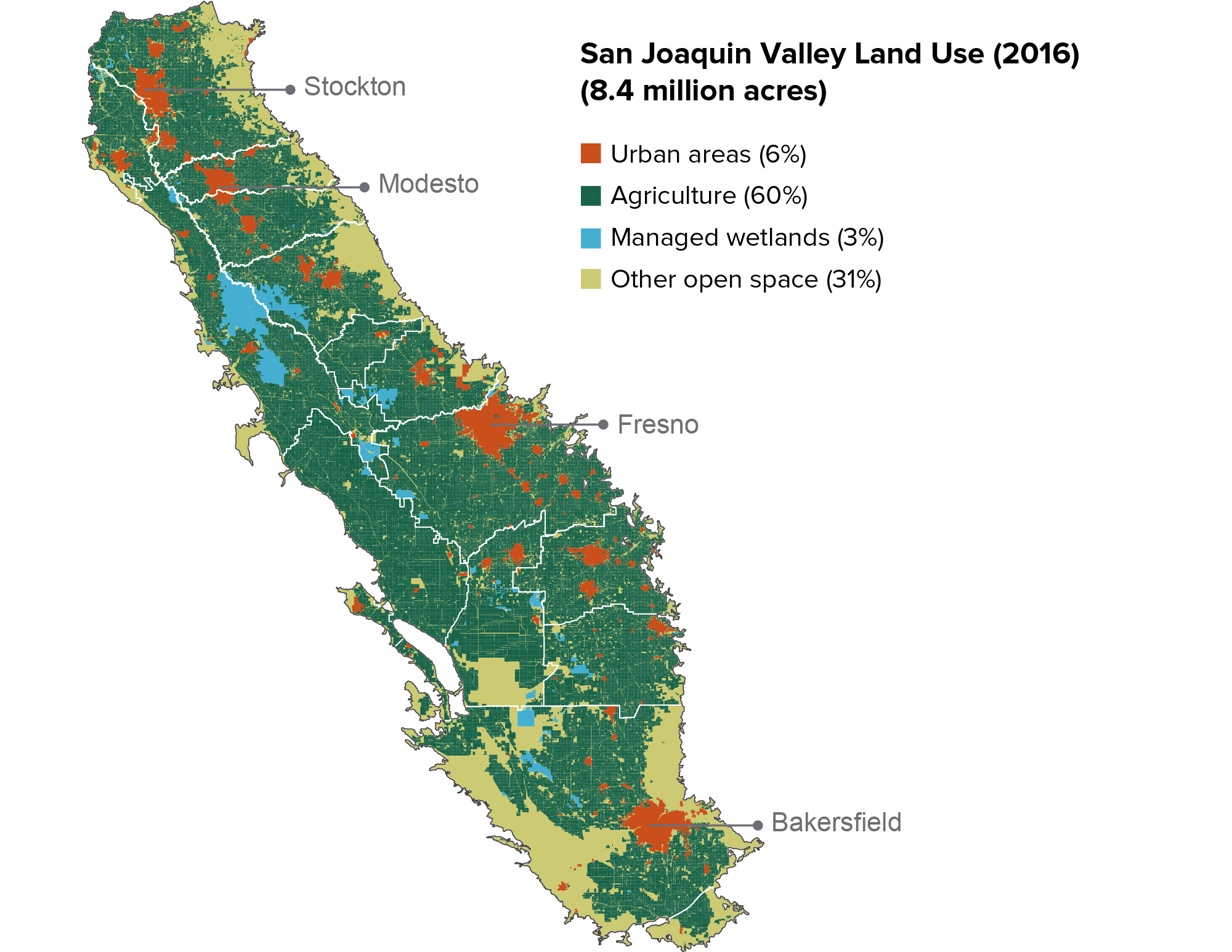 figure - The San Joaquin Valleys urban centers are surrounded by farmland
