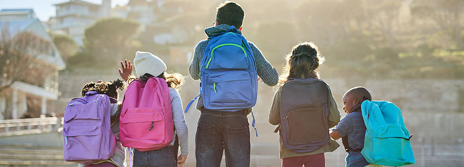 photo - Backs of Elementary Students in a Row