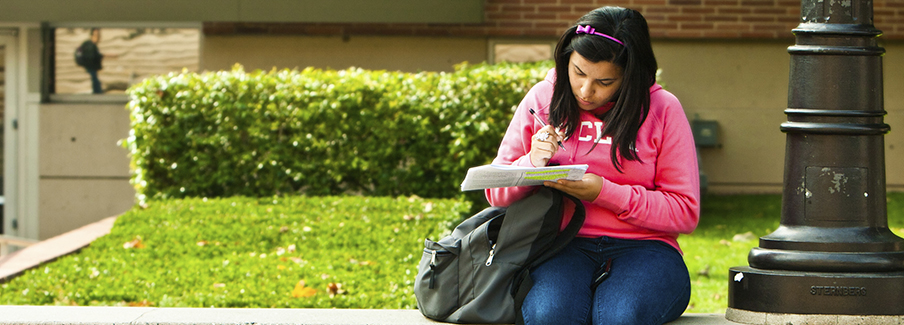 photo - Female College Student Studying Between Classes On Campus