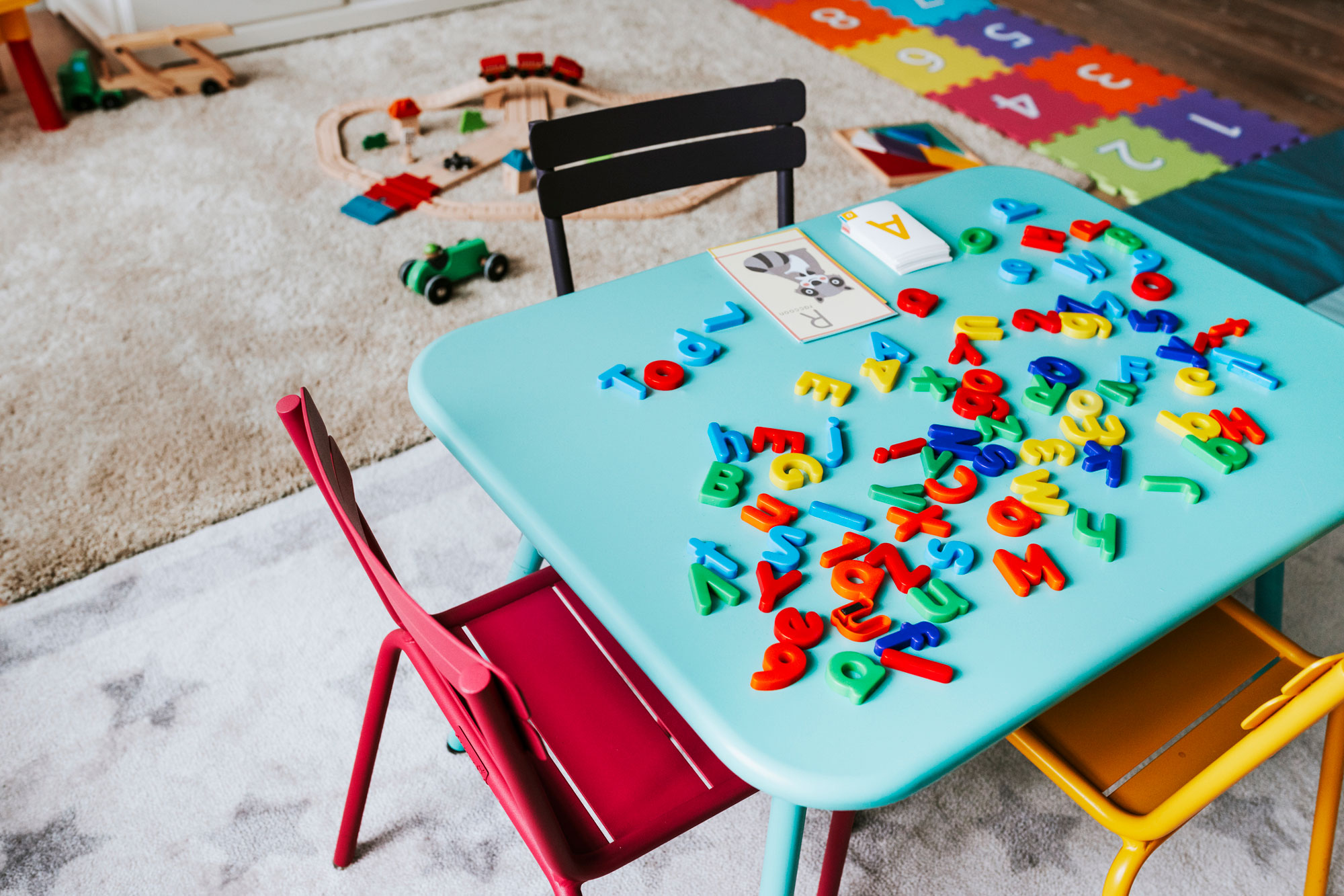 photo - Kindergarten Classroom Table with Alphabet Letters