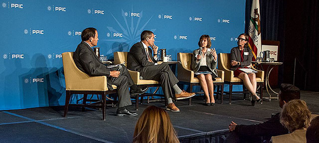 photo - Jeffrey Mount, Wade Crowfoot, Karen Ross, and Louise Bedsworth at 110519 PPIC Water Policy Center Event