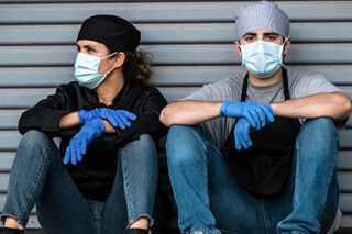 photo - Kitchen Workers Wearing Masks and Gloves
