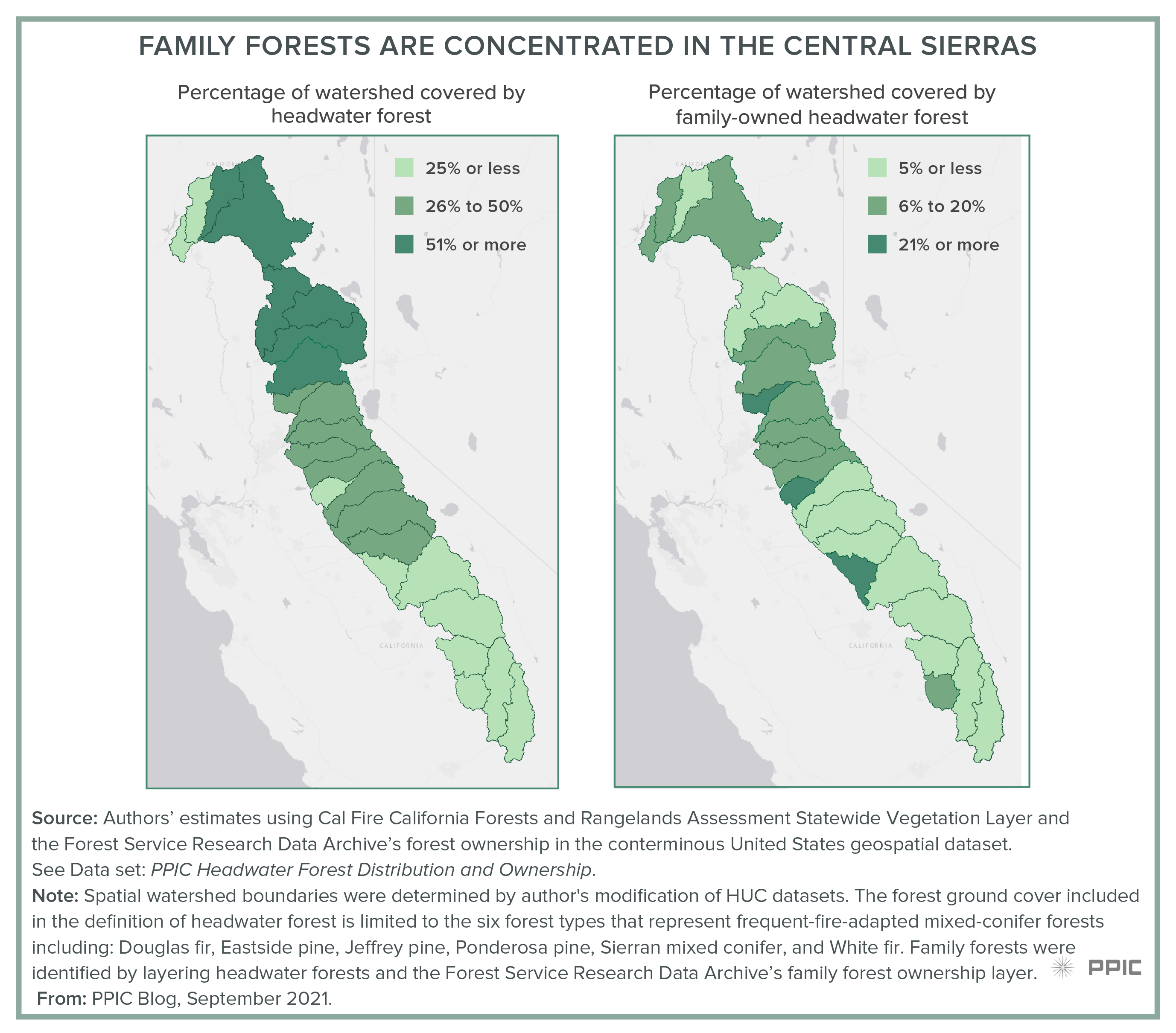 figure - Family Forests Are Concentrated in the Central Sierras