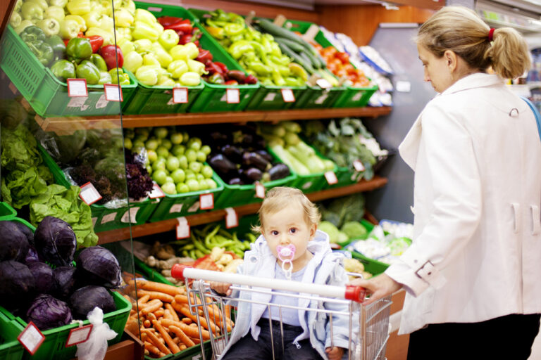 photo - Mother and Toddler Grocery Shopping