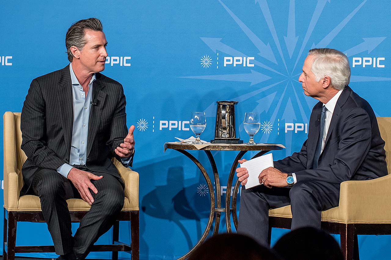 Photo of Governor Gavin Newsom and Mark Baldassare