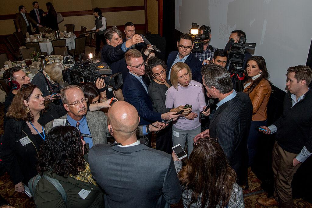 Photo of Governor Gavin Newsom with the media