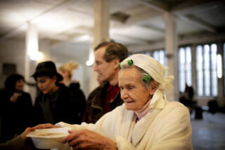 photo - Old Lady in Soup Kitchen Line