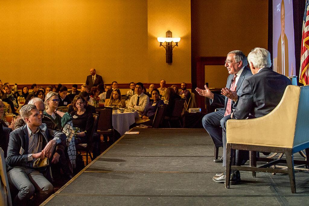 Photo of Leon Panetta, Mark Baldassare and audience