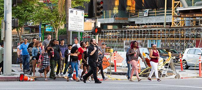 photo - Pedestrians Walking Across the Street in Los Angeles, California