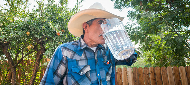 photo - Porterville Resident Drinking Water from Pitcher