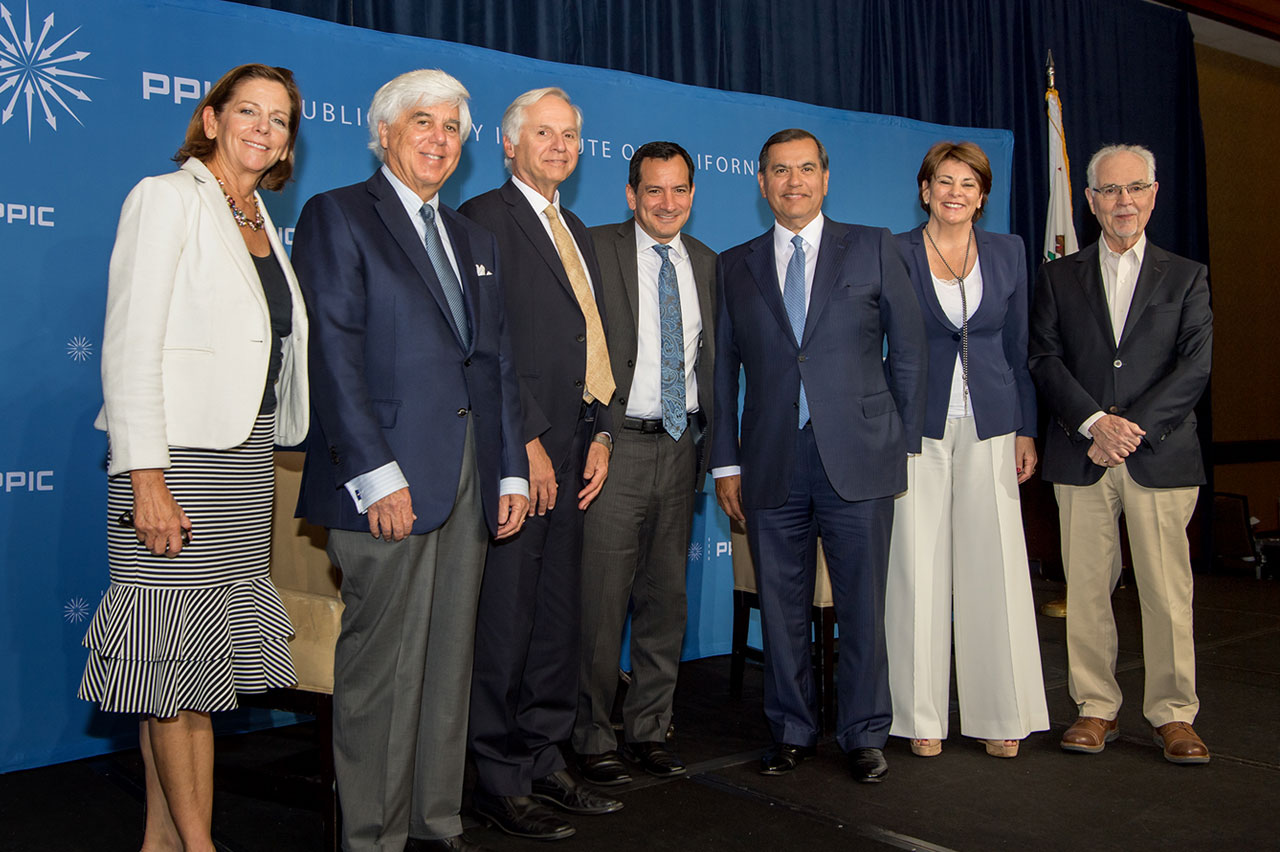 Photo of Karen Skelton, Steven Merksamer, Mark Baldassare, Anthony Rendon, Gaddi Vasquez, Donna Lucas, Phil Isenberg