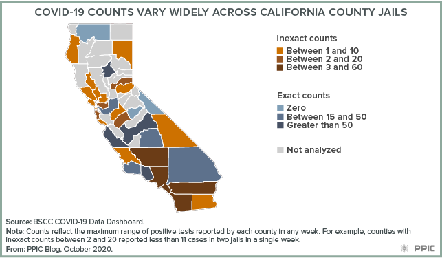 Map - COVID-19 Counts Vary Widely across California County Jails