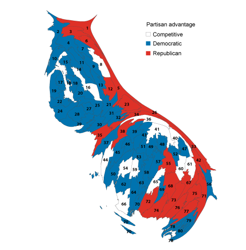 Democratic Strength In The State Becomes Clearer With Population Based Map