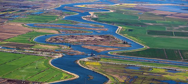 Photo of an aeriel view of the Sacramento San Joaquin River Delta
