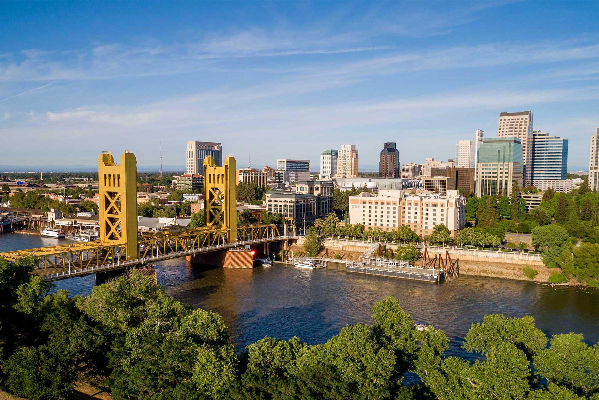 photo - Sacramento Tower Bridge and Sacramento Capitol Mall