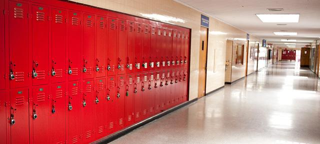 Photo of an empty school hallway