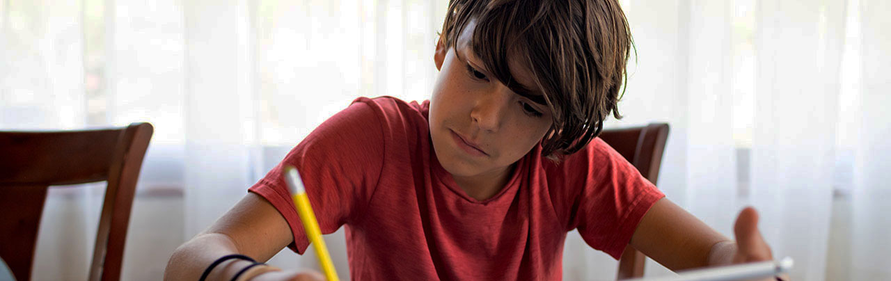 photo - Boy Doing School Work from Home with Pen, Paper, and Tablet