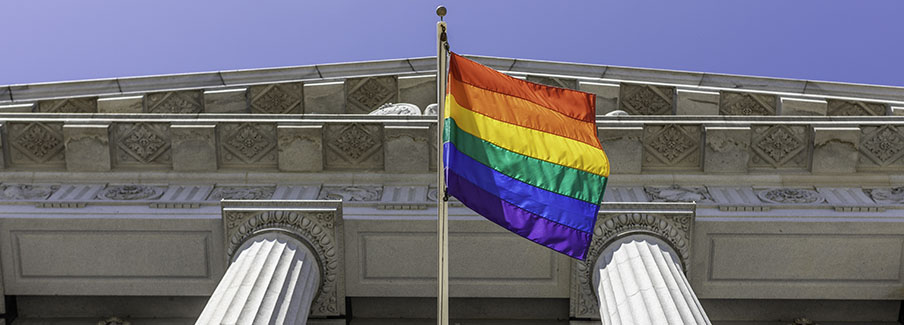 photo - Rainbow Flag Outside Government Building