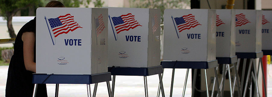 photo - Woman Voting in Row of Voting Booths