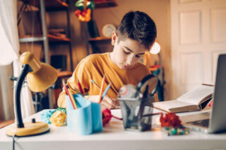 photo - Student at Desk Studying at Home