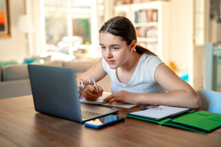 photo - Student Distance Learning from Home