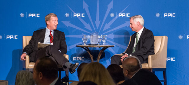 photo - Tom Steyer and Mark Baldassare at PPIC Speakers Series on California's Future