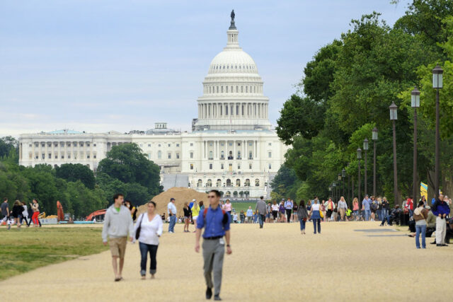 photo - US Capitol with People Walking in Front