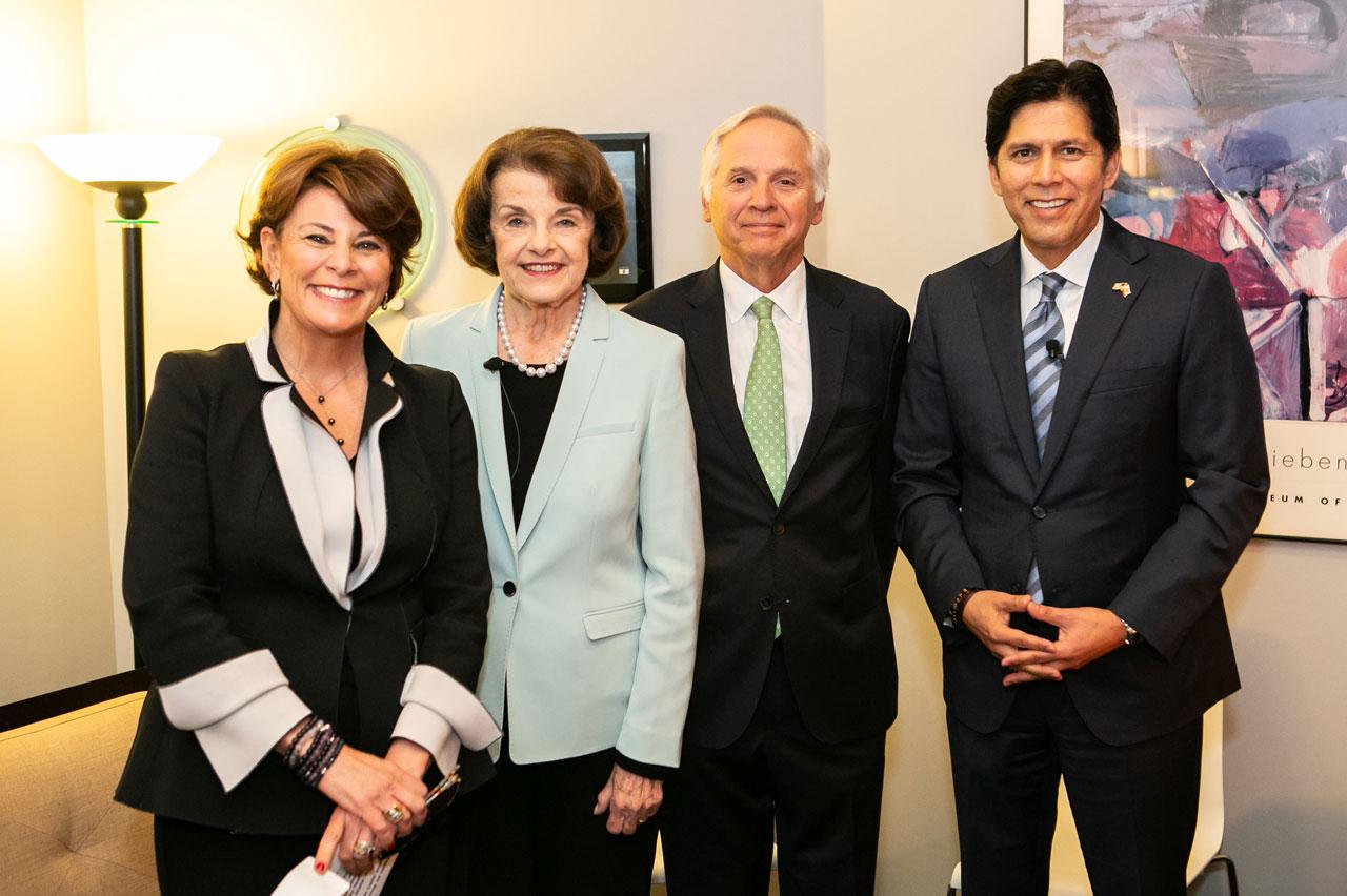 Photo of Donna Lucas, Dianne Feinstein, Mark Baldassare, Kevin de Leon