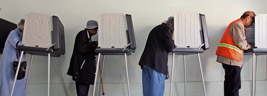 photo-voters voting at booths