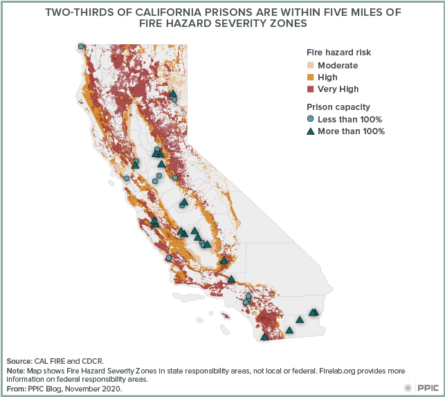 Map - Two-Thirds of California Prisons Are within Five Miles of Fire Hazard Severity Zones
