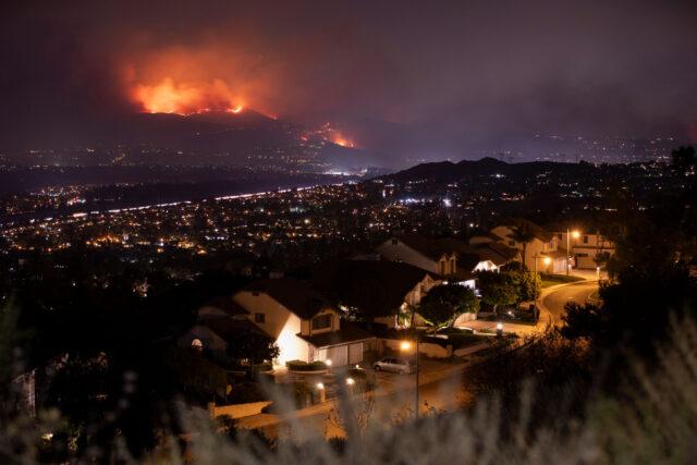 photo - Wildfire at Night, Threatening Neighborhood