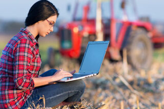 Photo of a woman on her laptop in a cornfield on a farm