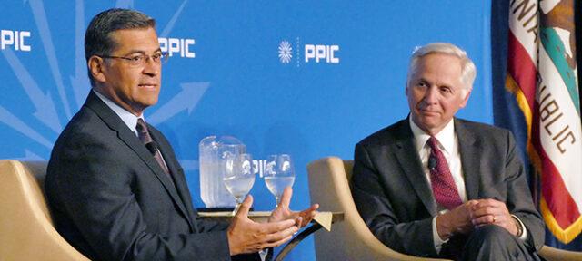 Xavier Becerra speaks with Mark Baldassare at PPIC Speaker Series on California's Future